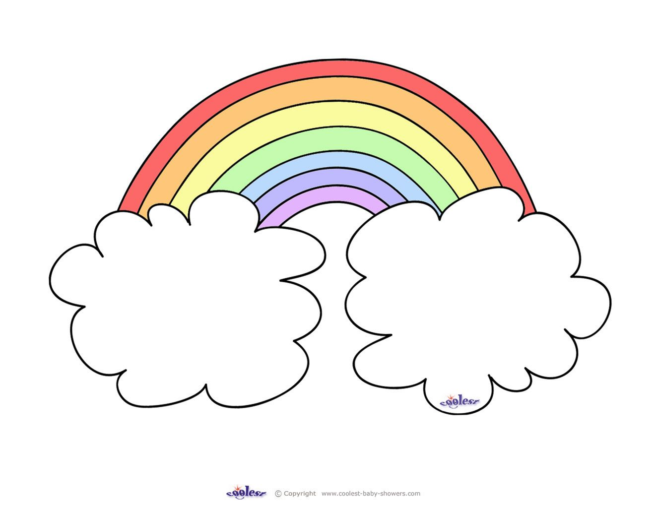 Coloring pages baby shower - Rainbow Coloring Pages Cute Printable For Invites Somewhere Over The Rainbow