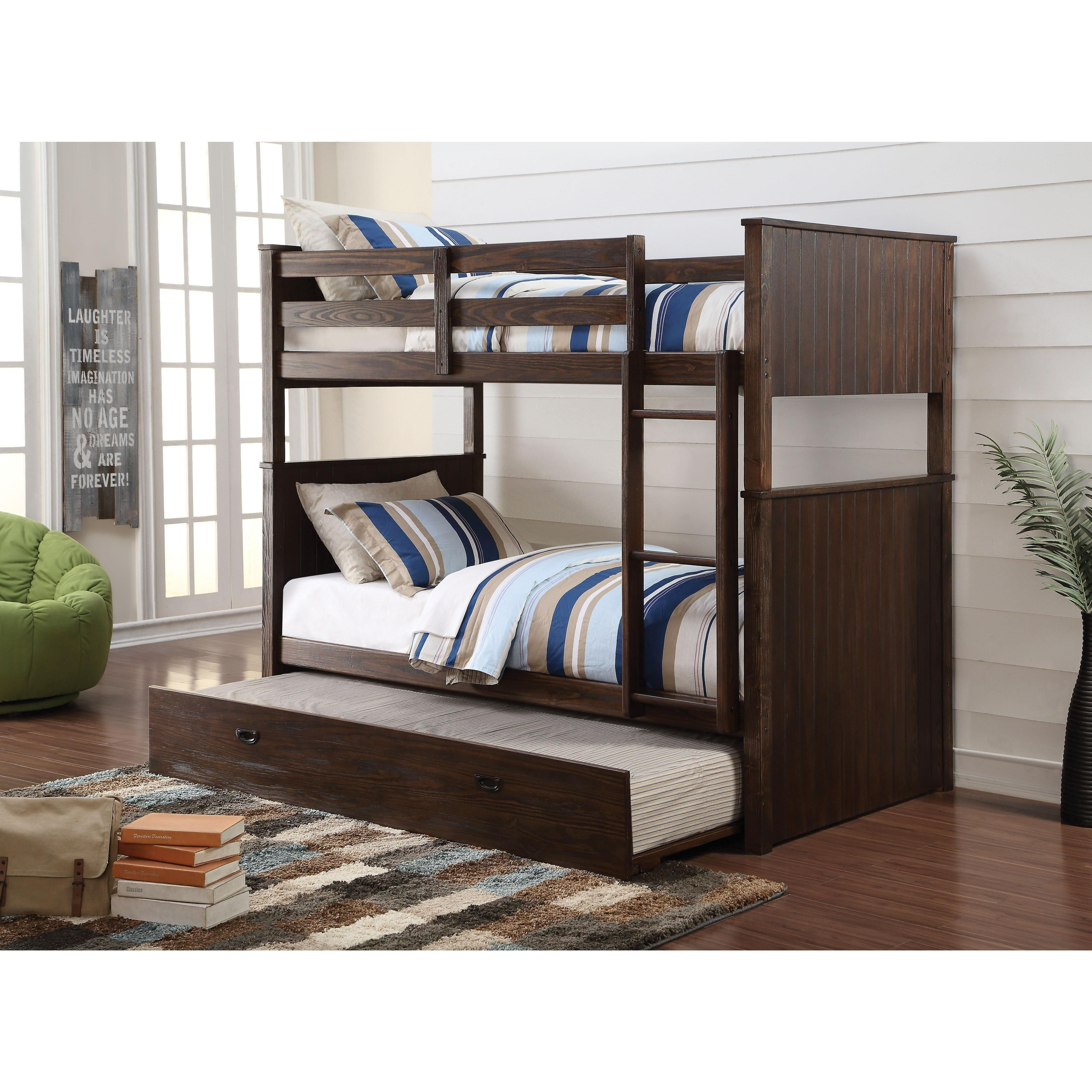 hector antique charcoal brown pine wood twin twin bunk bed with