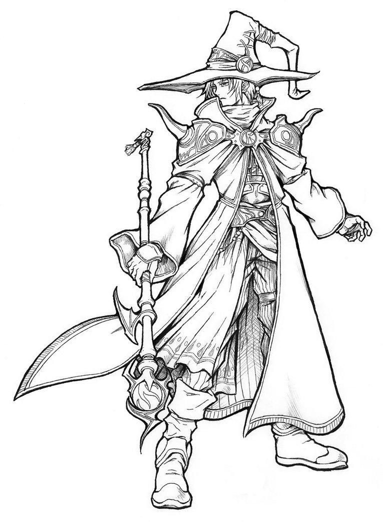 male mage Black and white drawing, Coloring pages