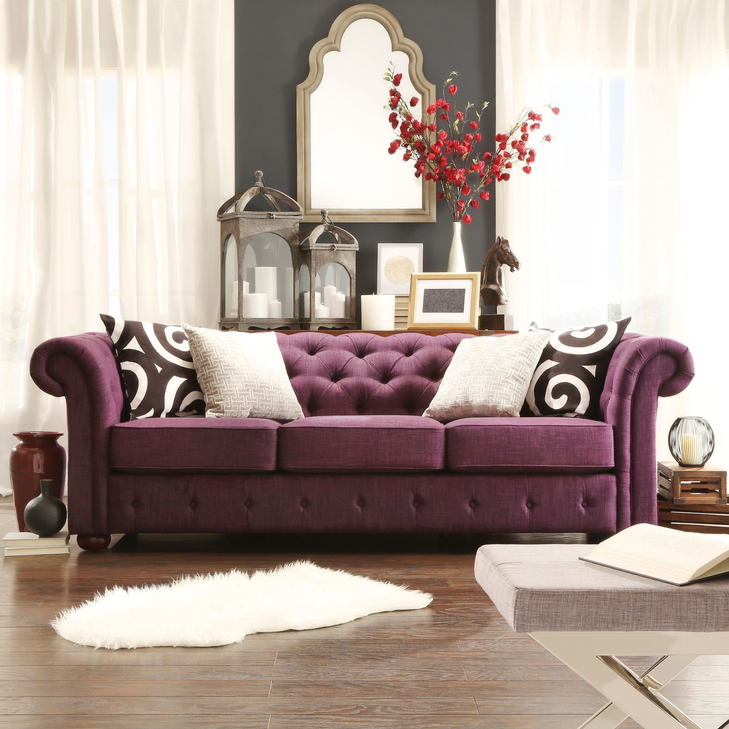 TRIBECCA HOME Knightsbridge Linen Tufted Scroll Arm Chesterfield