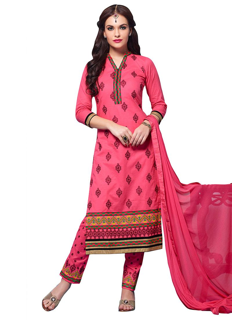31228d1989 Salmon Pink Embroidered Straight Pant Suit   Indian clothes I like ...