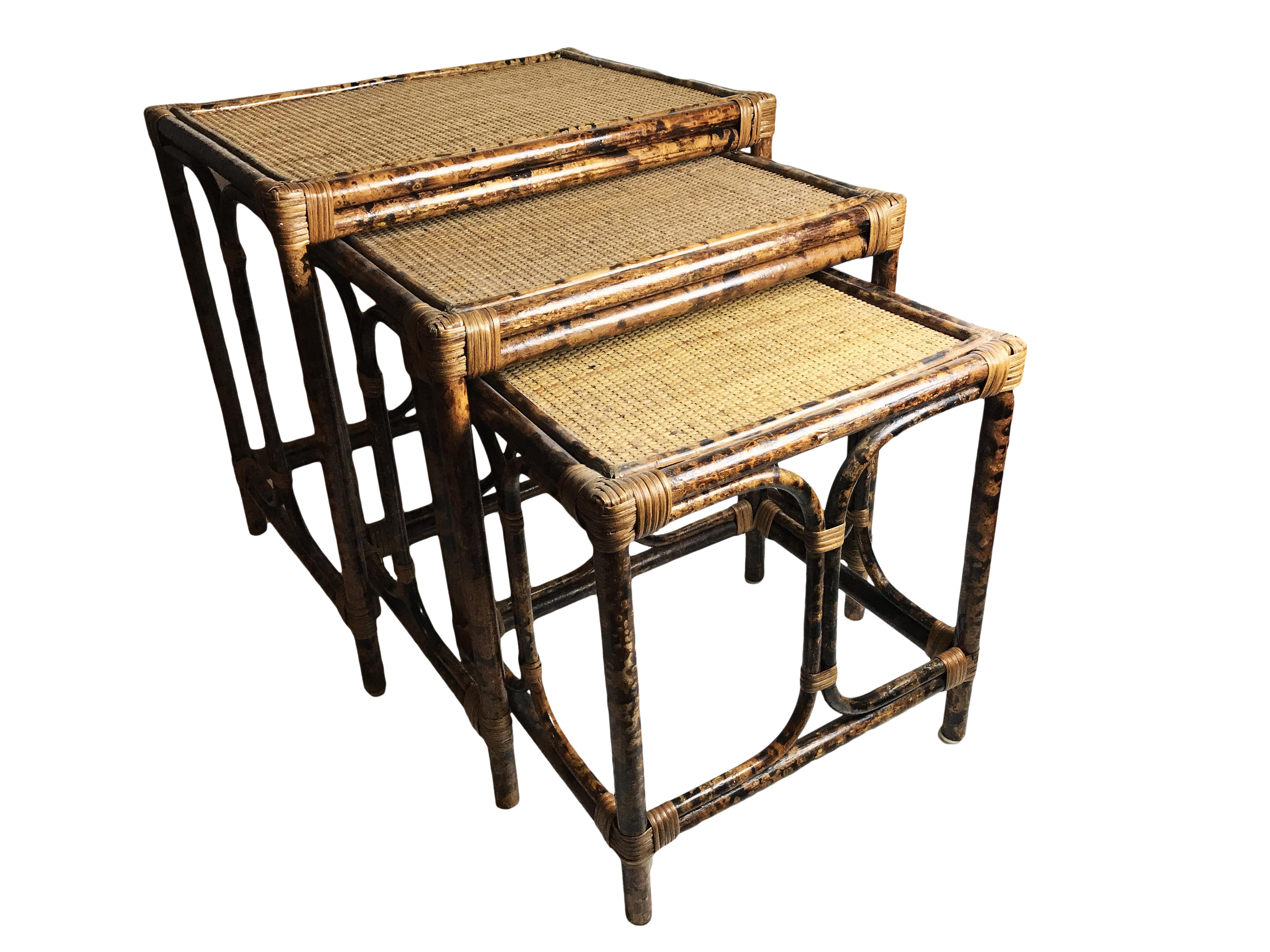 Vintage Mid Century Bamboo And Rattan Nesting Tables They Have Beautiful Woven Light Brown Tops In Great Condition The Nesting Tables Table Light Brown Top