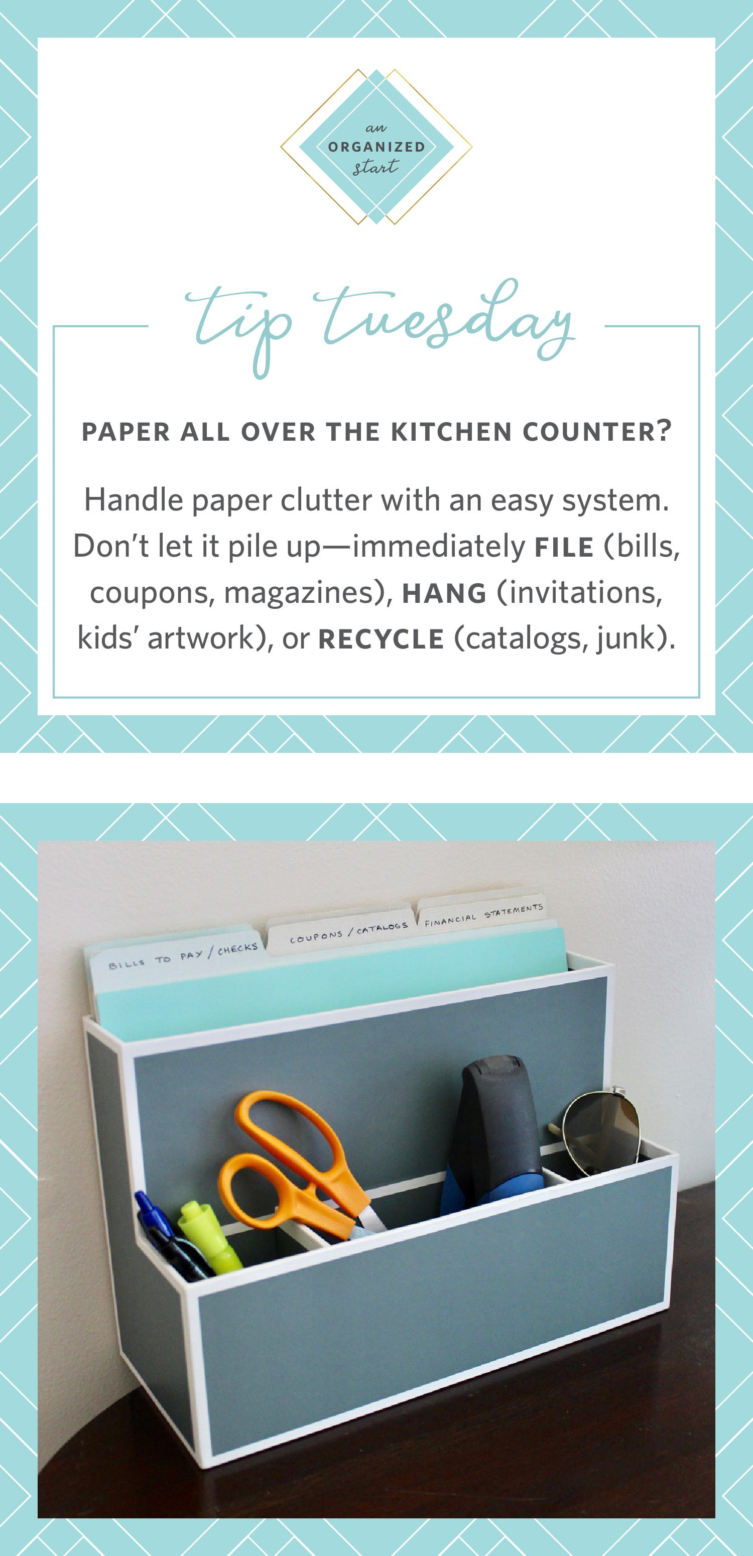 paper all over the kitchen counter Handle paper clutter with an