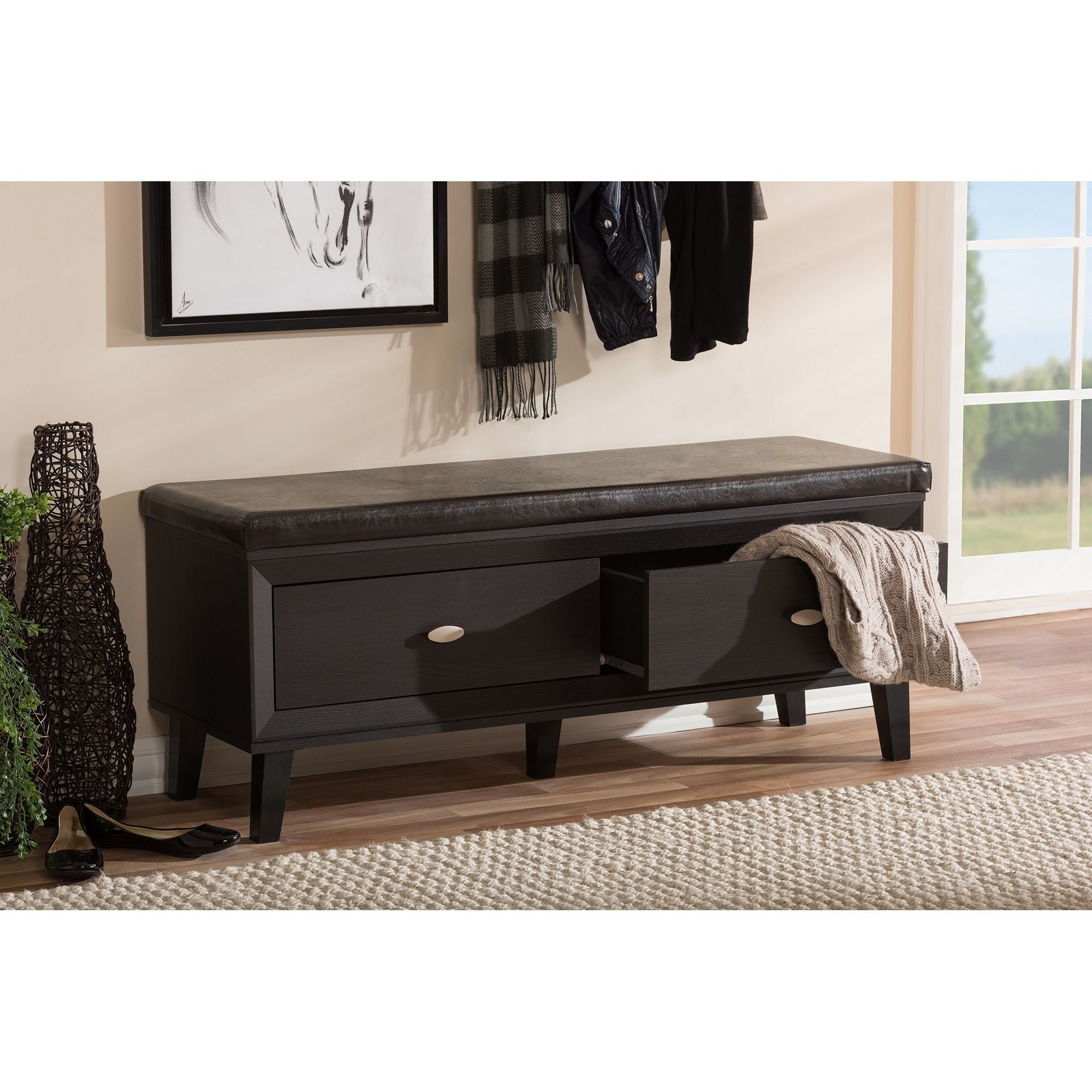 Elegant Wood Entry Bench with Storage