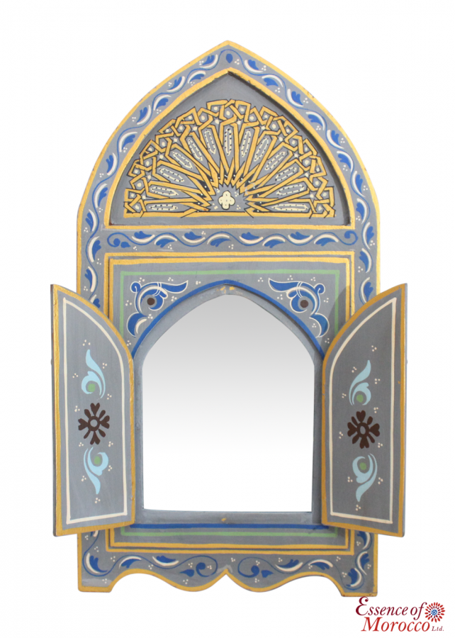 Moroccan Mirror Wood Bab Door In The Zouak Tradition Handmade Hand
