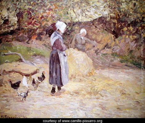 Study of Peasants at Montfoucault, 1874 - Camille Pissarro - www.camille-pissarro.org