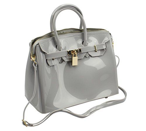 Gray Designer Jelly Tote Handbag Purse Shoulder Bag Gold Lock Latch La Mania Http