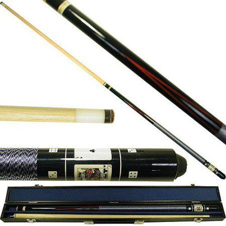 Pool Cue with Case Wolf Graphic 2 Piece Billiard Stick with Replacement Tips
