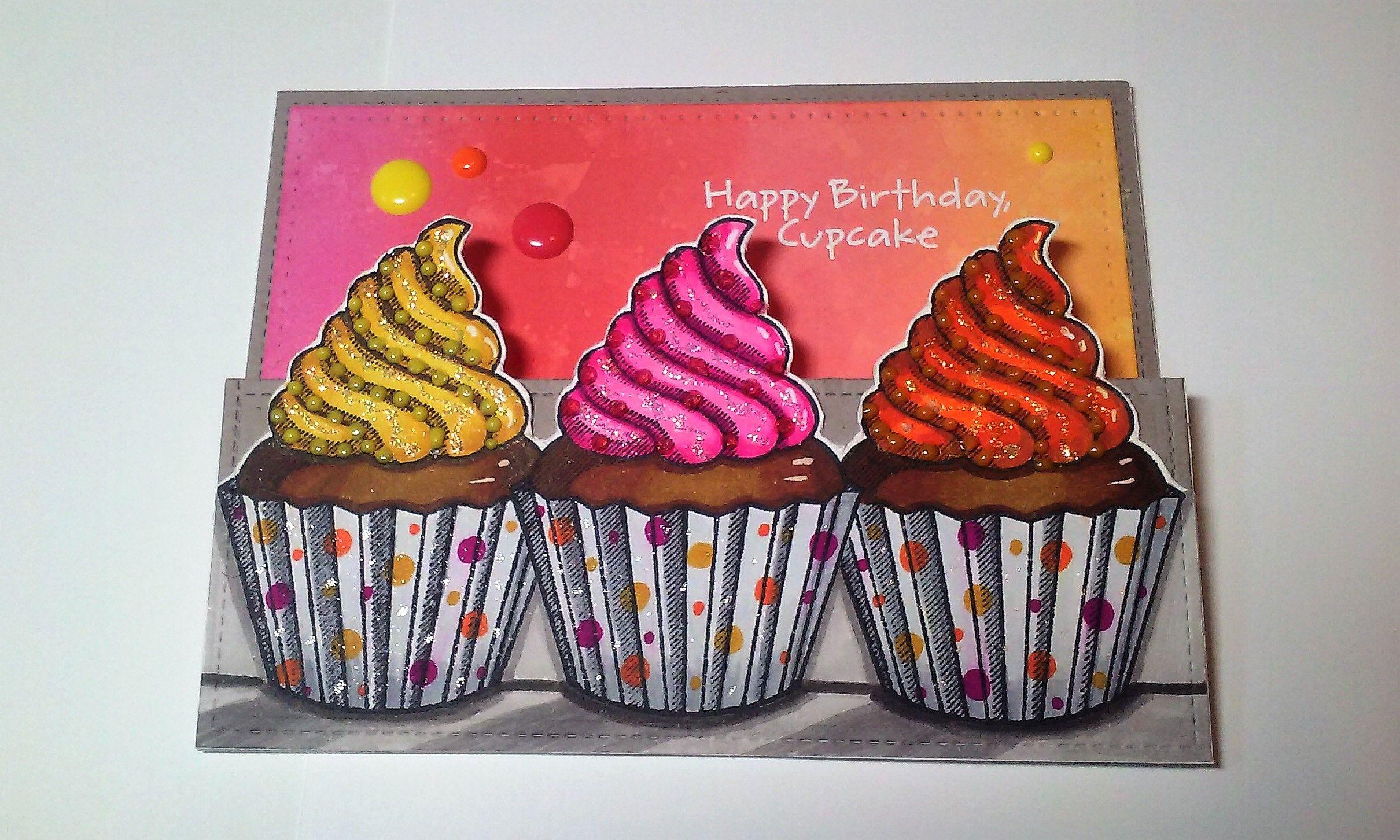 Z Folded Birthday Card Sizzix Cupcake Greetings Stamp Set