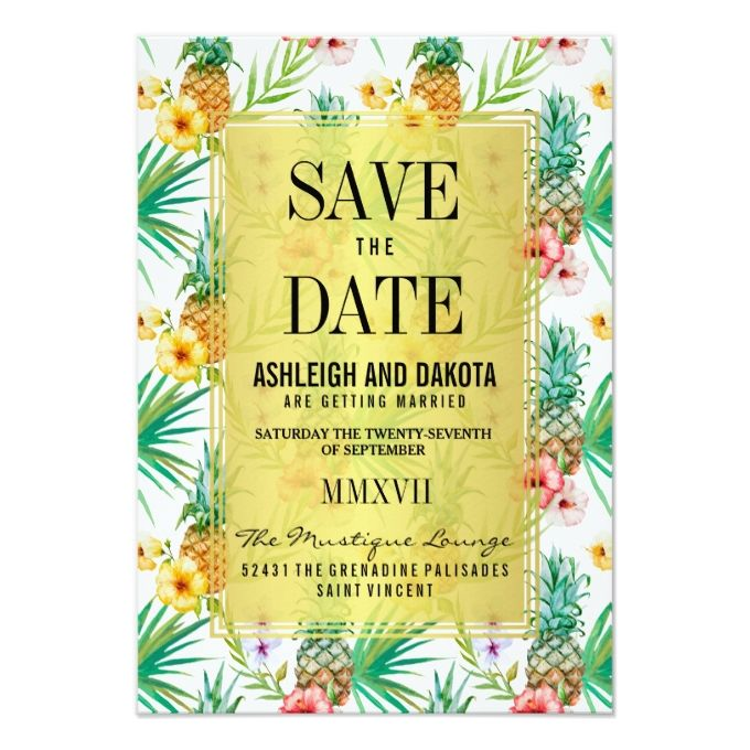 Tropical Pineapple and Hibiscus Save The Date Card