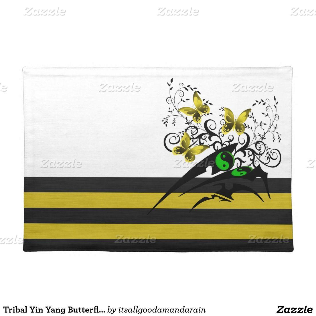 Tribal Yin Yang Butterflies, yellow/green Cloth Placemat   Yin yang ...