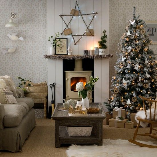 Rustic Living Room With Woodburning Stove Christmas Decorations