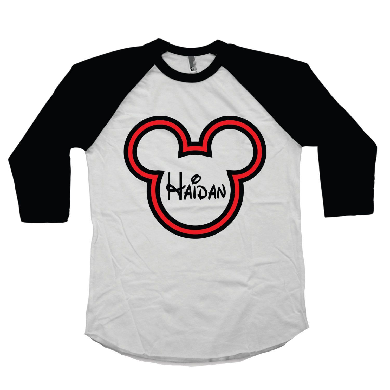 How ADORABLE is this Personalized Mickey Mouse personalized boy s shirt Boy s raglan tee is embellished with Mickey Mouse head and personalized with your