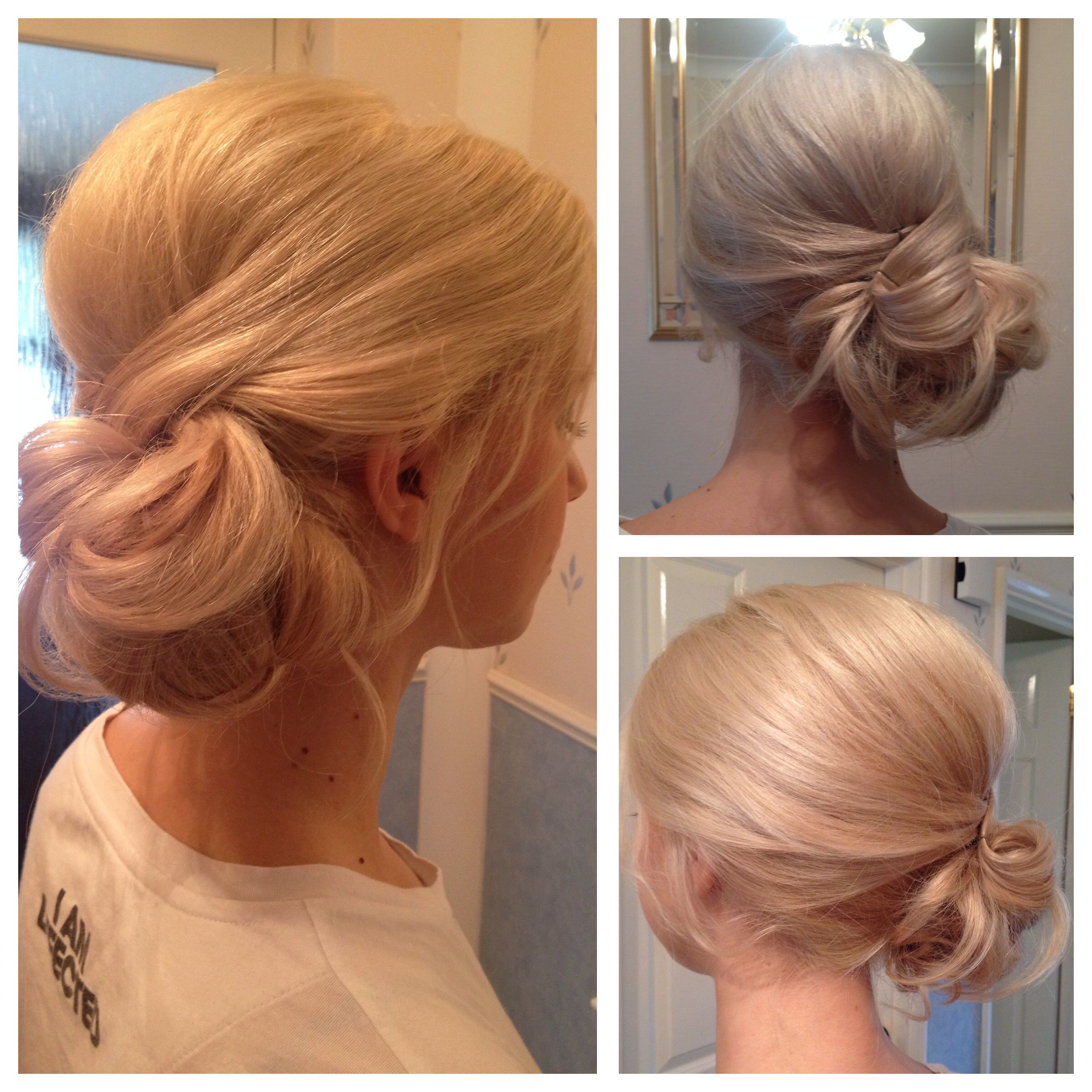 Side bun for a beautiful bridesmaid by Helen Andrew weddinghair