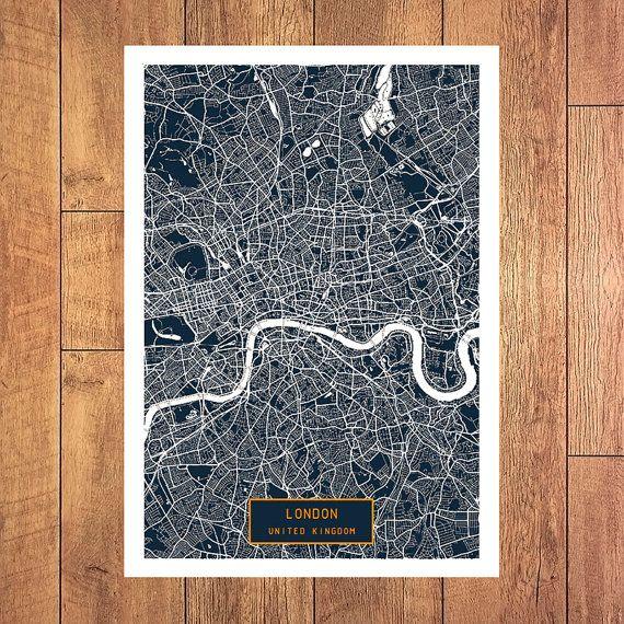 LONDON UK CANVAS Art City Map London United by JackTravelMap
