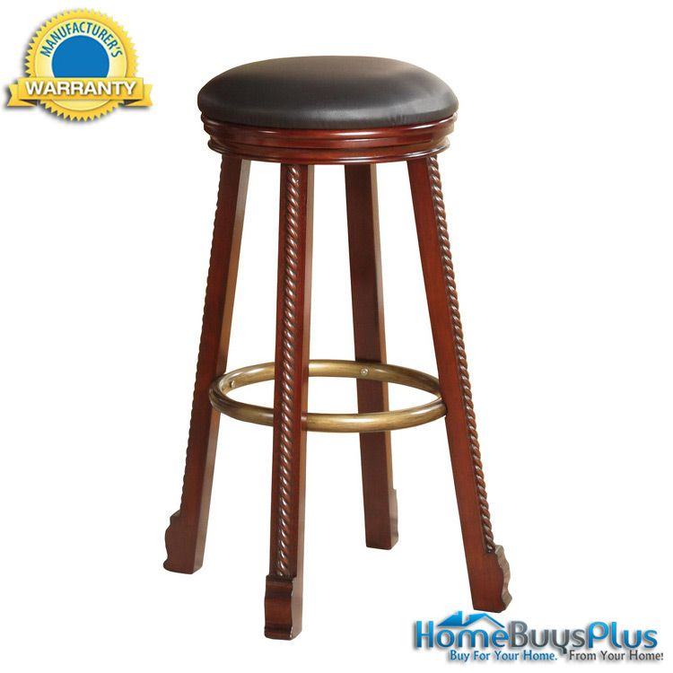 Quot Cherry Quot Round Bar Stool With Black Faux Leather Seat 2