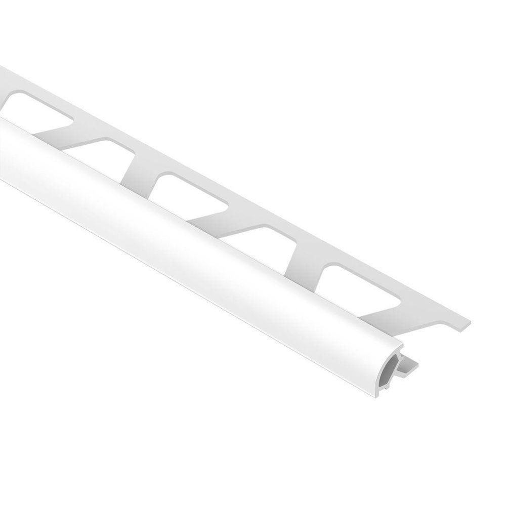 Schluter Rondec Bright White 3 8 In X 8 Ft 2 1 2 In Pvc Bullnose Tile Edging Trim Pro100bw The Home Depot Tile Edge Trim Tile Edge Bullnose Tile