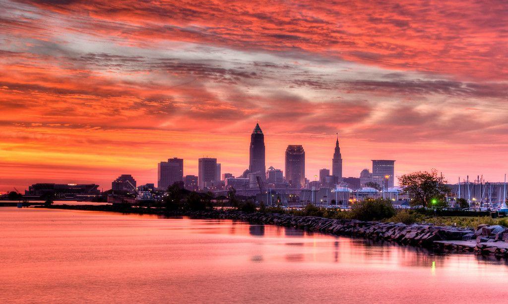 Sunrise from Edgewater Park Cleveland skyline