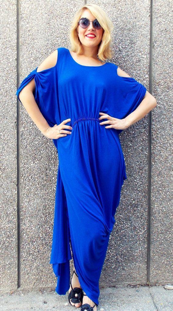 """maxi plus size kaftan / asymmetrical plus size dress / blue """" rel"""