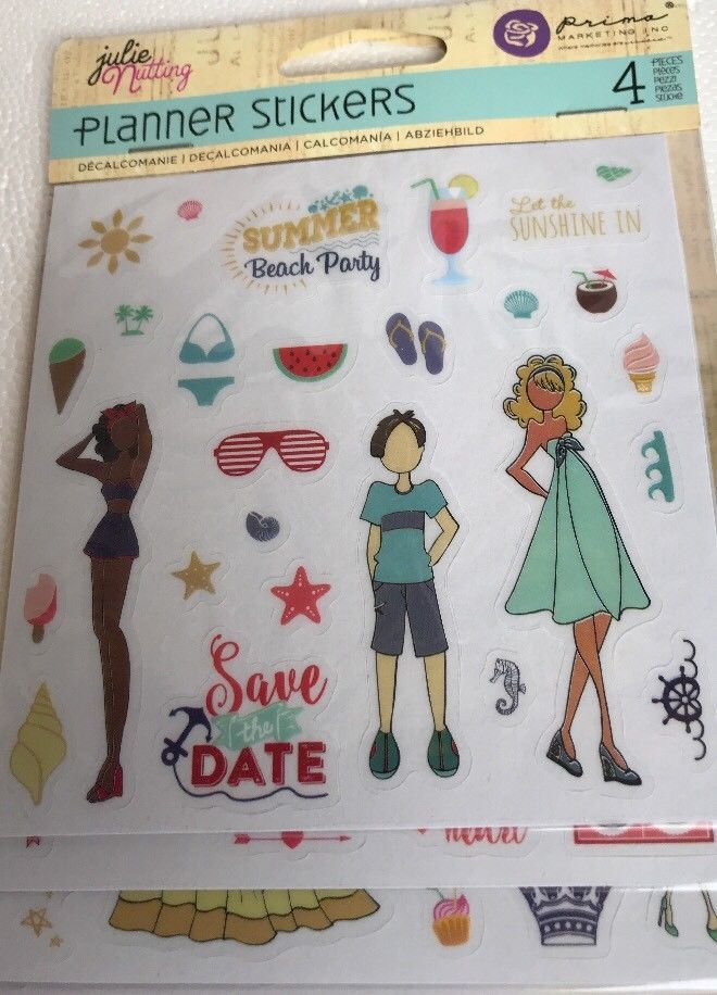 Prima Marketing JULIE NUTTING Clear Matte Planner Stickers Holidays Summer Party