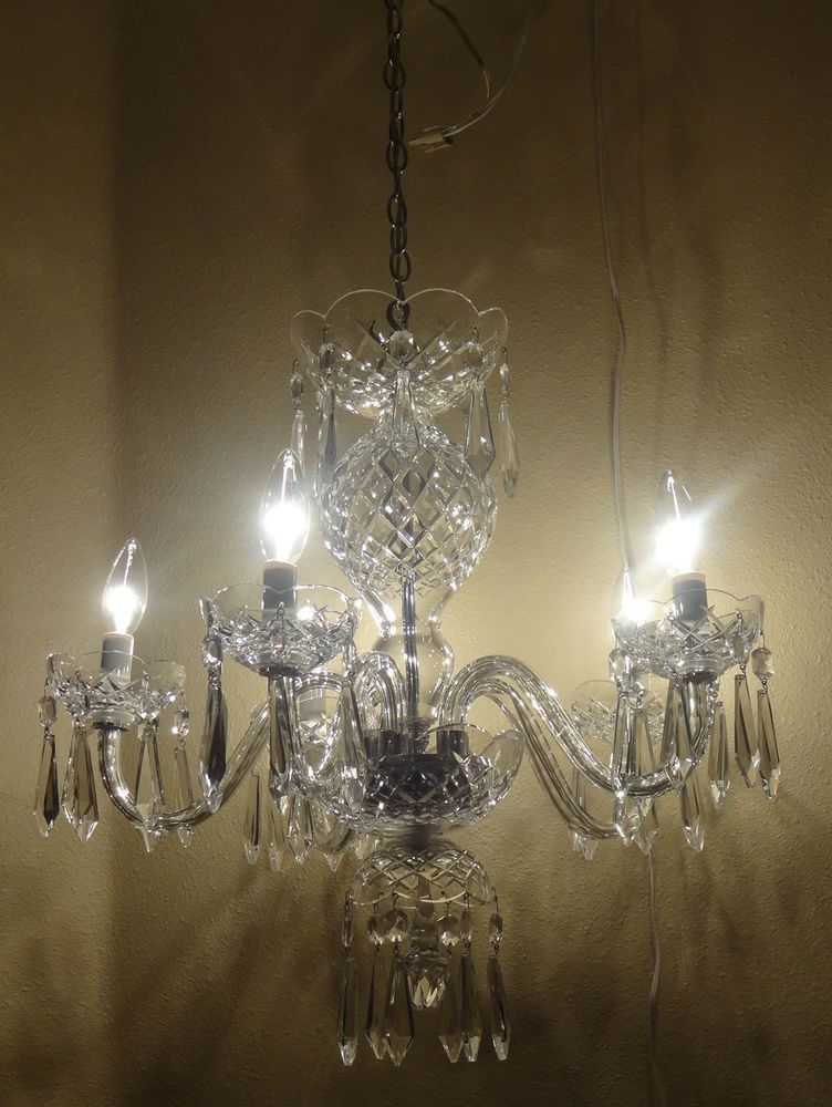 VINTAGE WATERFORD COMERAGH 5 ARM B5 CRYSTAL CHANDELIER #WATERFORD - Vintage Waterford Comeragh 5 Arm B5 Crystal Chandelier Lighting