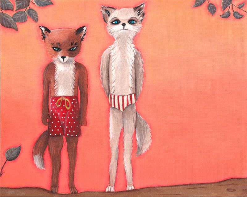 Fantastic Mr Fox Ash Meets Cousin Kristofferson Print Fantastic Mr Fox Wes Anderson Original Canvas