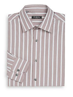 Saks Fifth Avenue Classic-Fit Striped Dress Shirt - Burgundy - Size 15