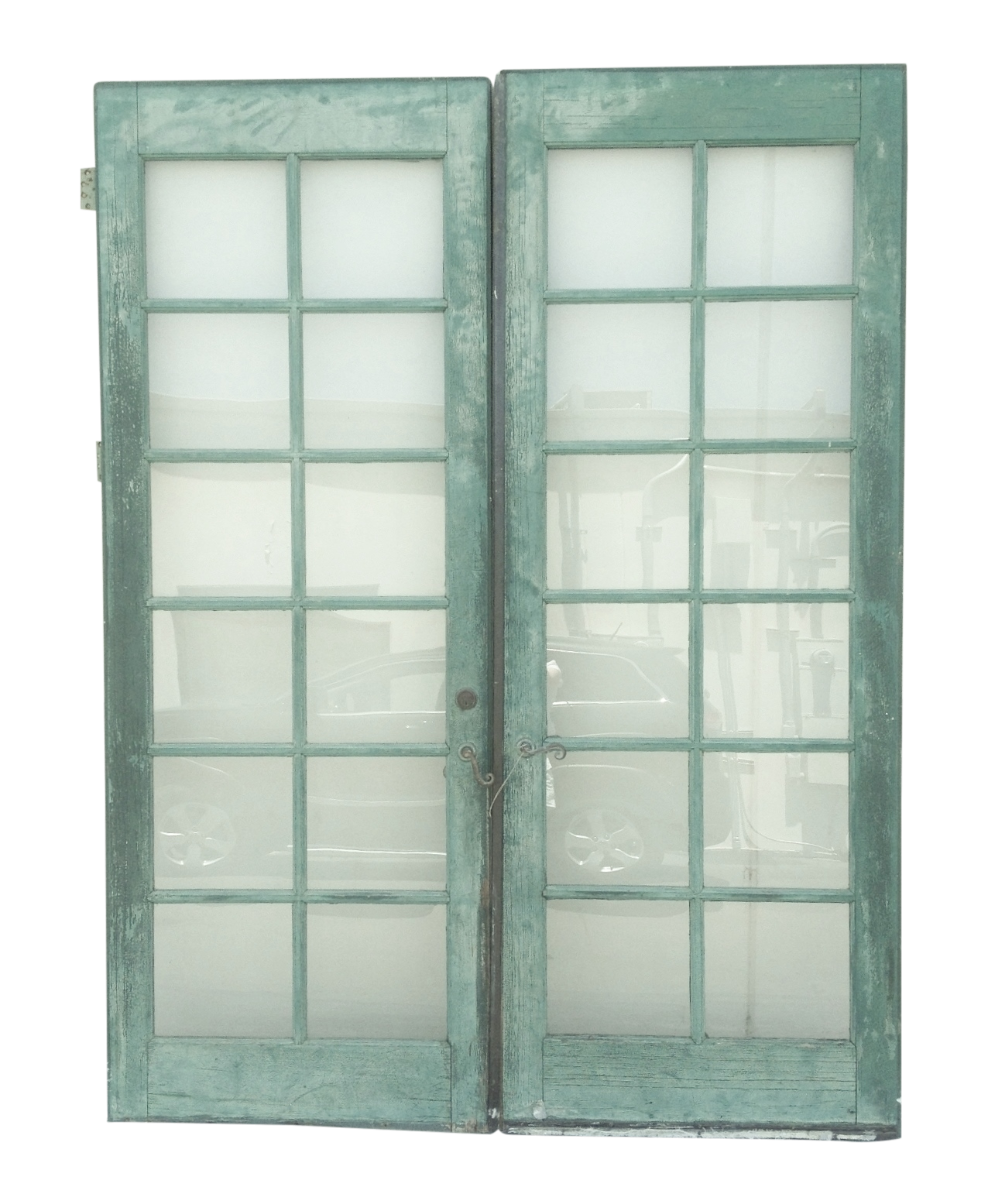 A Pair Of Architectural Painted 12 Light French Doors With Brass Hinges And A Lever Handle The Doors Are From Th French Doors Vintage Painting Glass Pane Door