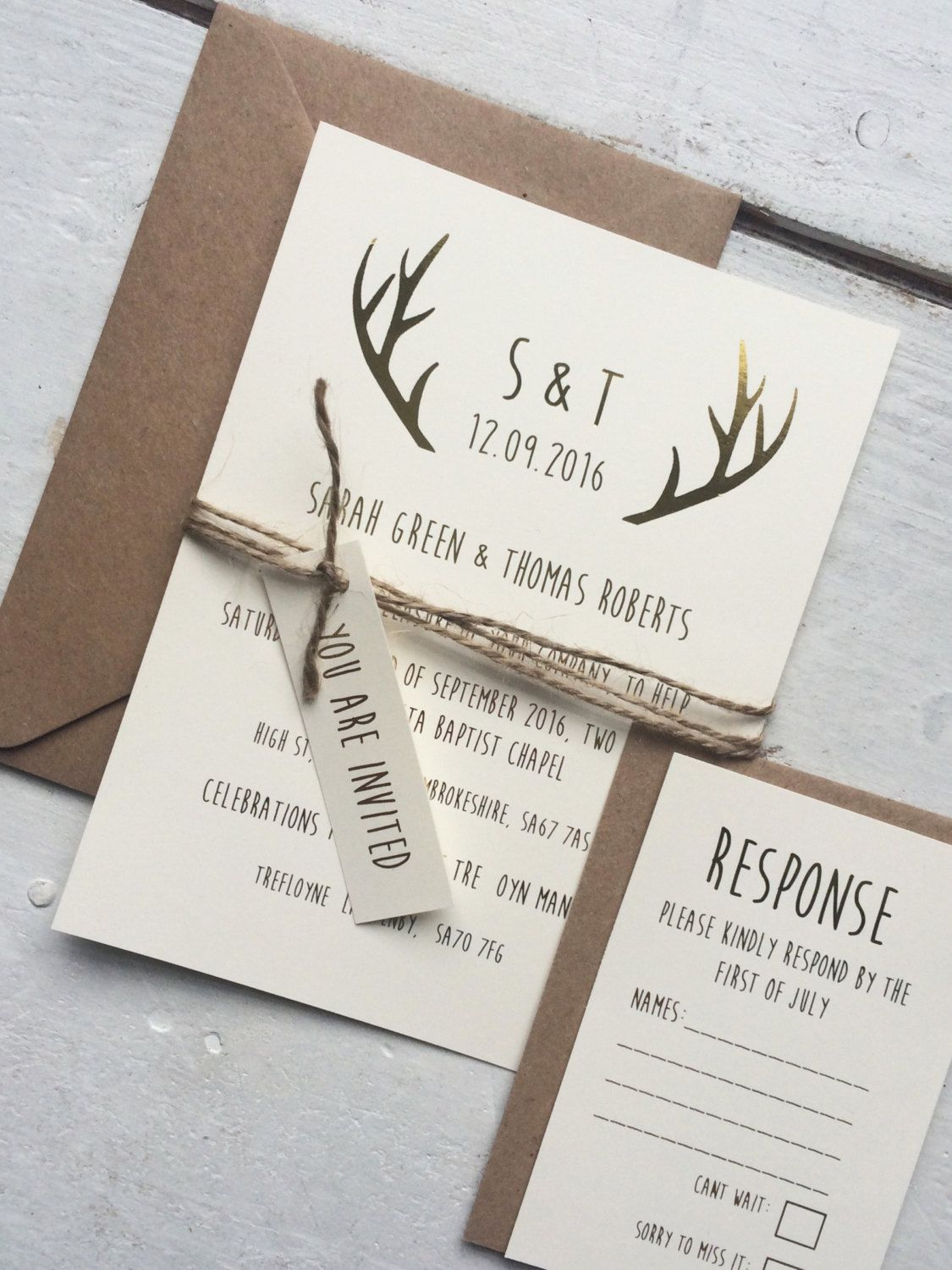 Gold Foil Rustic Wedding Invitation Set Rustic Wedding Gold Foil