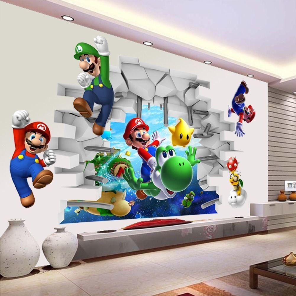 Super Mario 3D Wandtattoo Wand Aufkleber Bild Deko Film Kinder Tapeten Luigi Neu