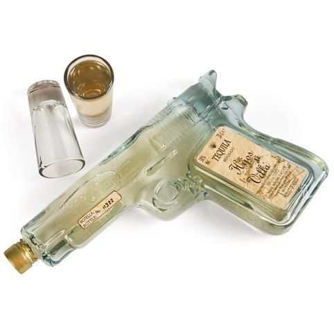 Tequila Shooters Glass Pistol Shaped Bottle Filled With Gold