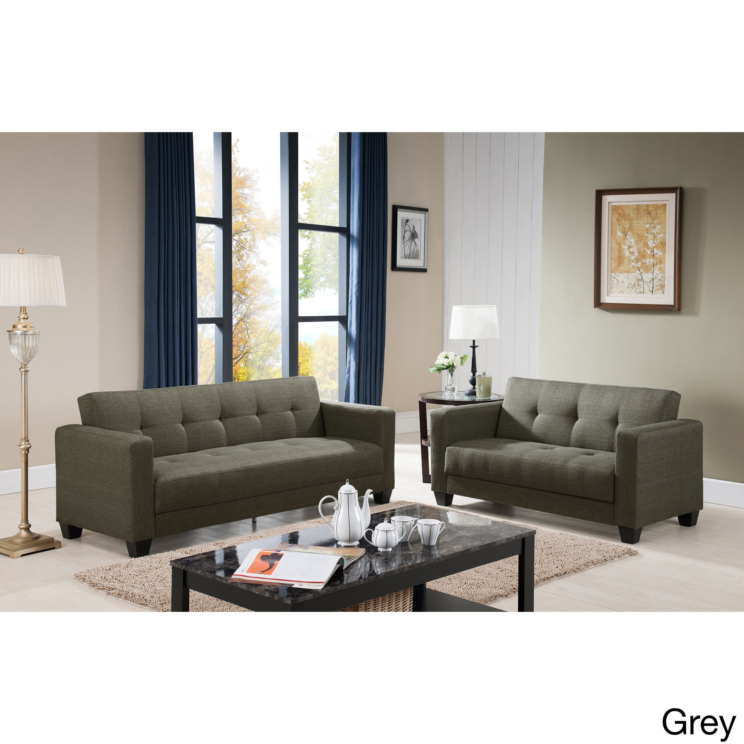 US Pride Furniture Carly Contemporary 2 piece Fabric Sofa and
