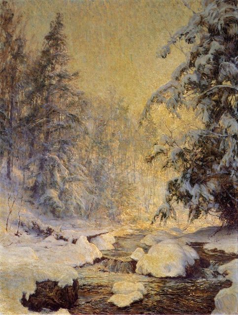 """I love the light in this painting! """"A Brook in Winter"""" at Snow by American Walter Launt Palmer 1854-1932"""