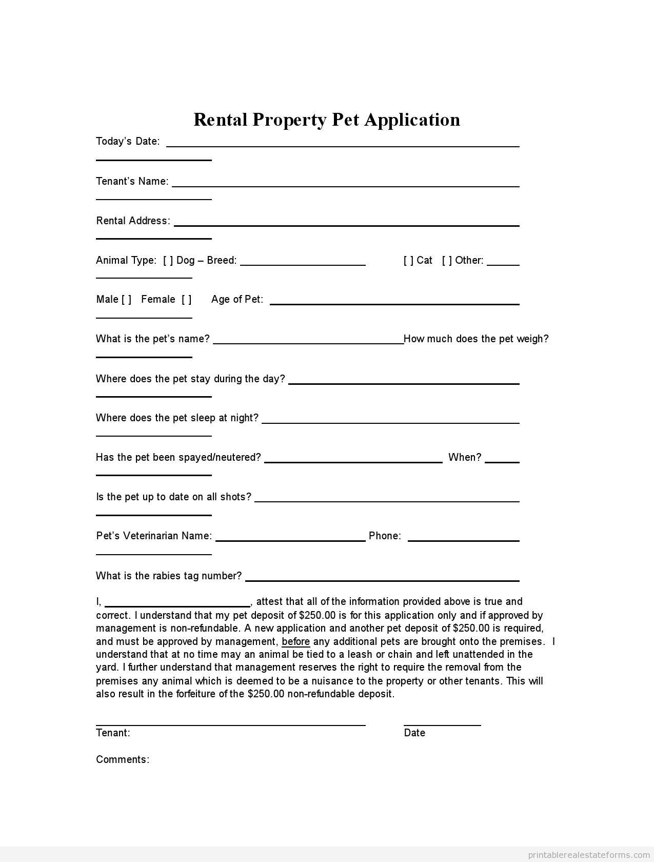 Printable Rental Property Pet Application Template   Sample