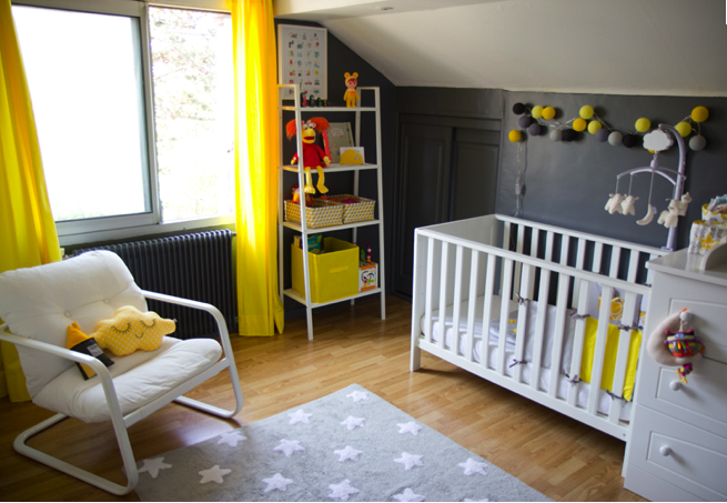 Chambre enfant jaune & grise | Baby\'s/Kid\'s Room | Chambre ...