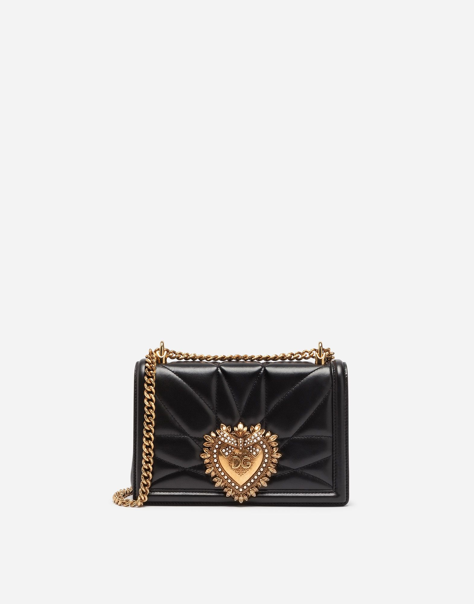 6b53a4622e DOLCE   GABBANA MEDIUM DEVOTION BAG IN QUILTED NAPPA LEATHER.  dolcegabbana   bags  shoulder bags  leather  metallic