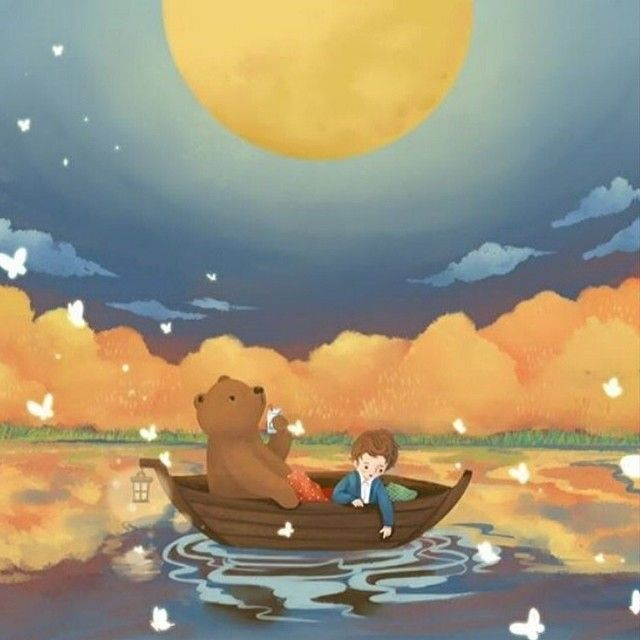 """Illustration for children on Instagram: """"Art by @petitmeow. Tag with #childrenillustration to be featured. #bear #boy #boat #moon #drawing #illustration #butterflies #art #artist"""""""