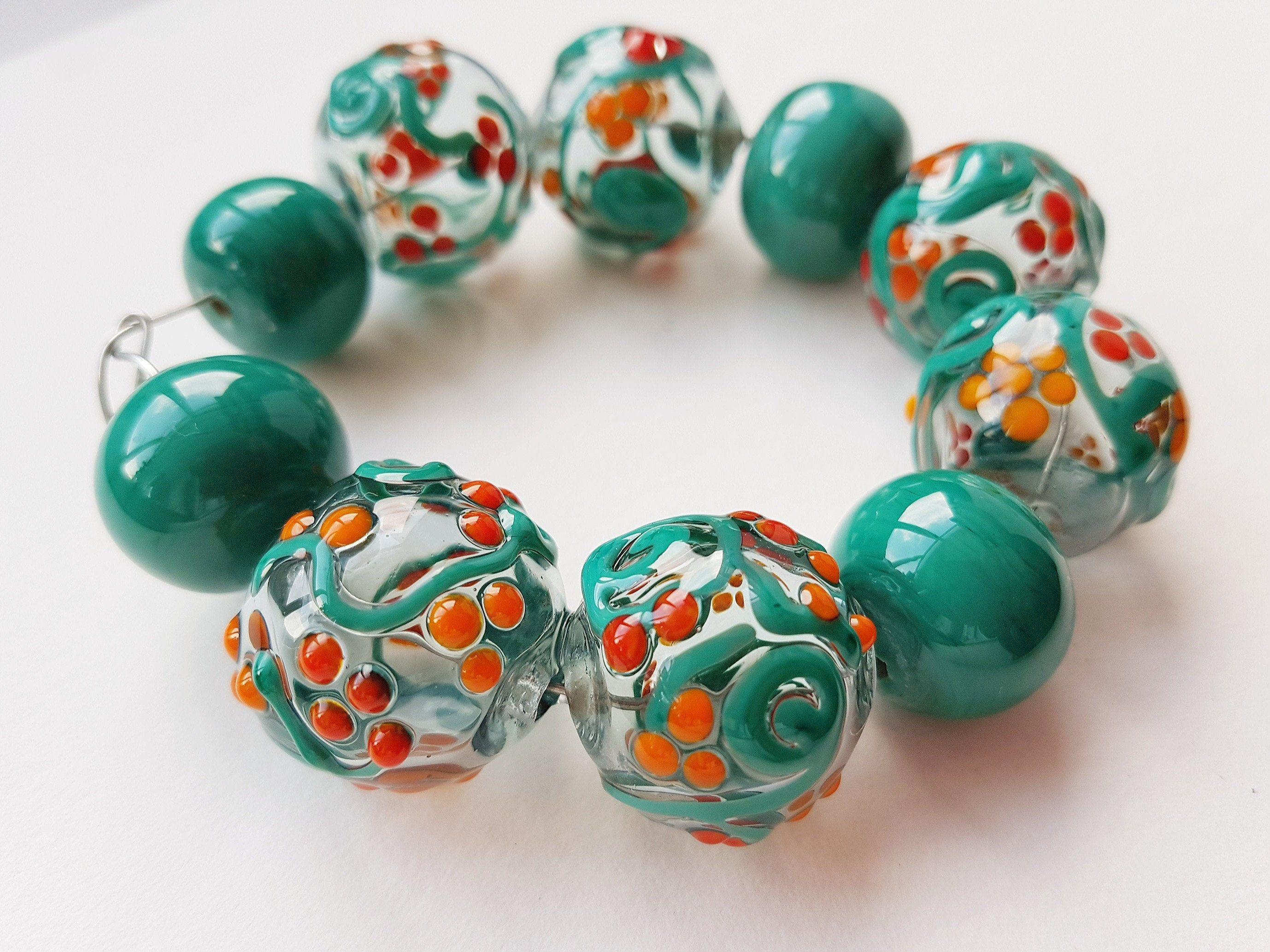 Lampwork beads Blown beads Craft. Handmade Glass Hollow Beads For Necklace Glass Beads Handmade