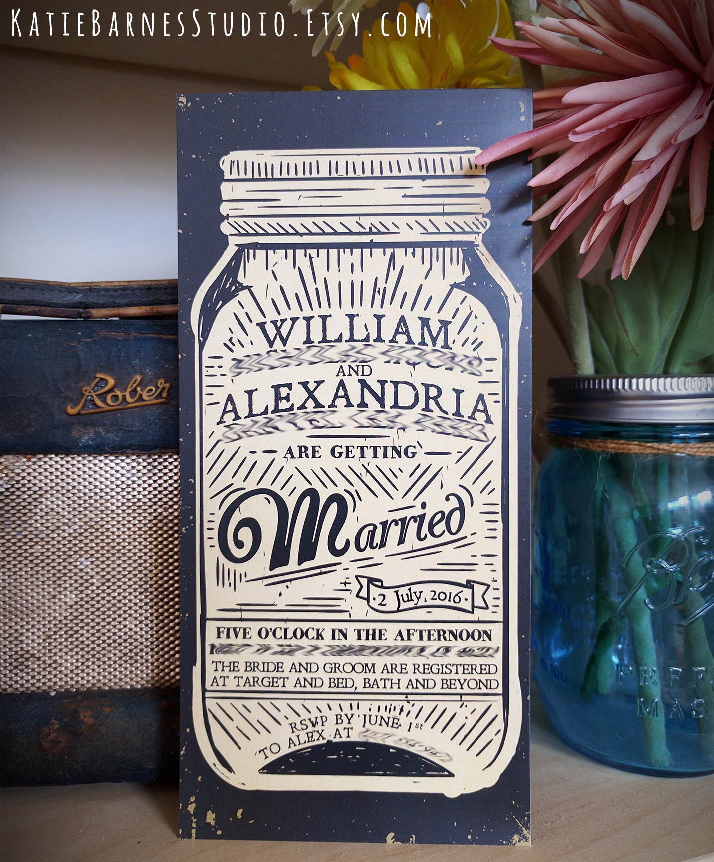 Rustic Mason Jar Wedding Invitation From Katiebarnesstudio Etsy Com
