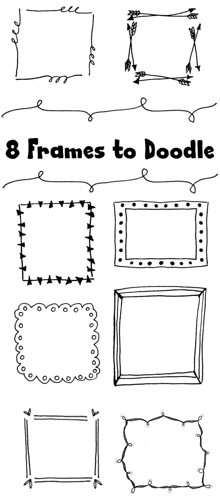 8 Hand Drawn Frames to Doodle [Bujo doodles]