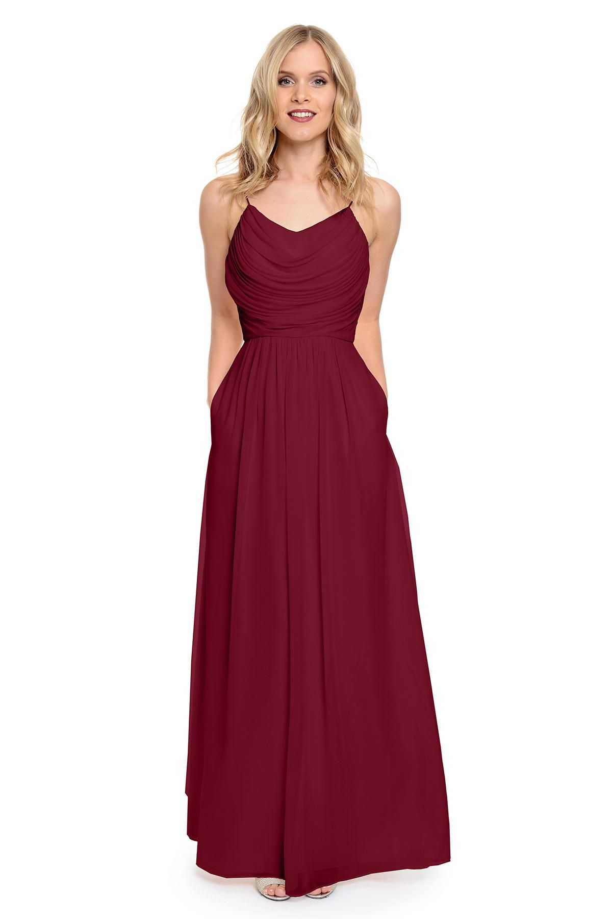 wineblueburgundy bridesmaid dresses long pleated wedding