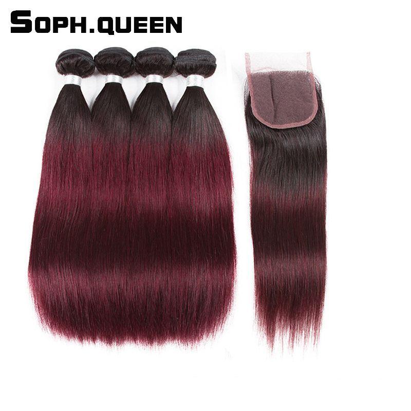 Soph Queen Hair Pre Colored T1b 99j 100 Human Hair Malaysian