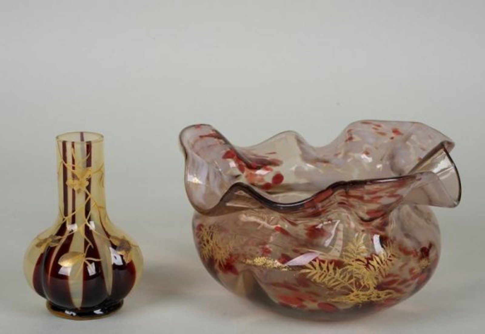 851 2 pieces victorian art glass with raised gilt de