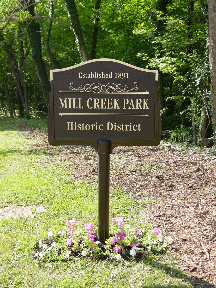 Bronze Roadside Marker celebrating Mill Creek Park Historic District - cast bronze plaque by Erie Landmark Company a division of Paul W. Zimmerman Foundries celebrating 75 years of plaques!   Find us on the web at www.erielandmark.com or place an order at info@erielandmark.com.