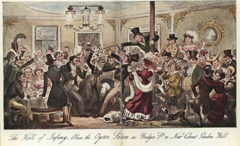 """""""The Hall of Infamy, Alias the Oyster Saloon in Bridges St. or New Covent Garden Hell.""""  by Robert Cruikshank  For more info: http://twonerdyhistorygirls.blogspot.com/2012/02/prowling-london-at-midnight.html"""