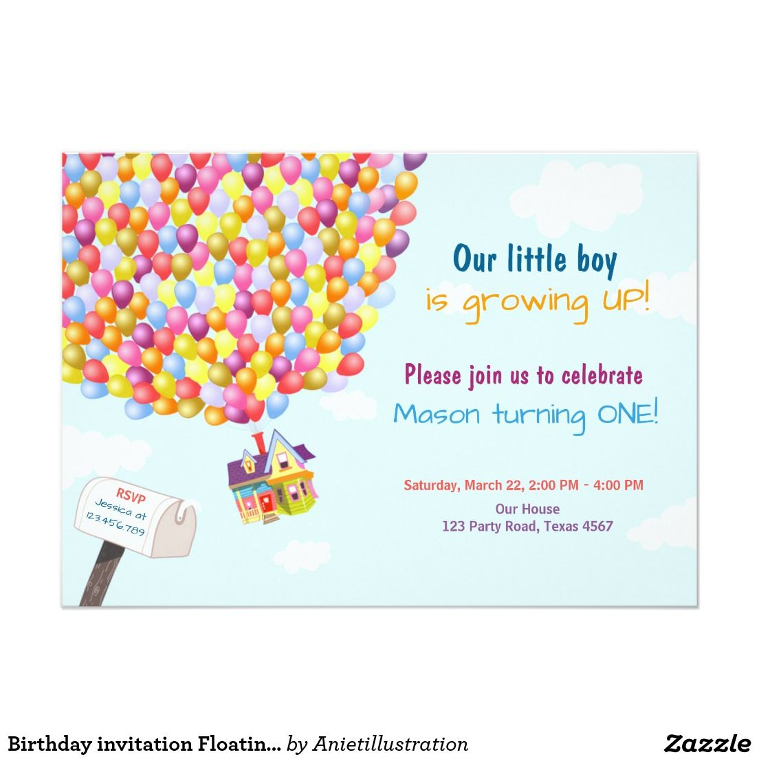 Birthday Invitation Floating House Balloons Floating House