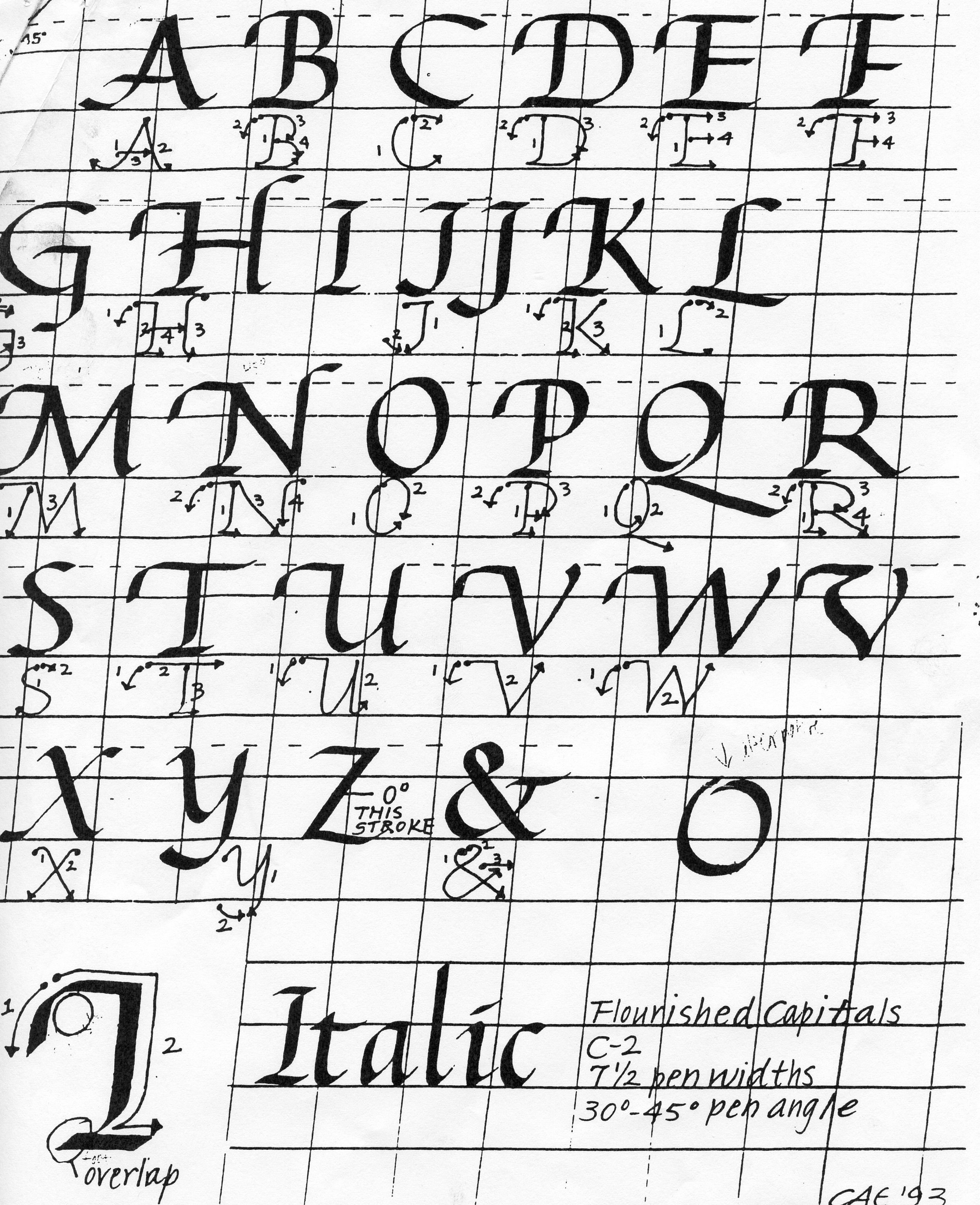 Collection Of Italic Calligraphy Practice Worksheets