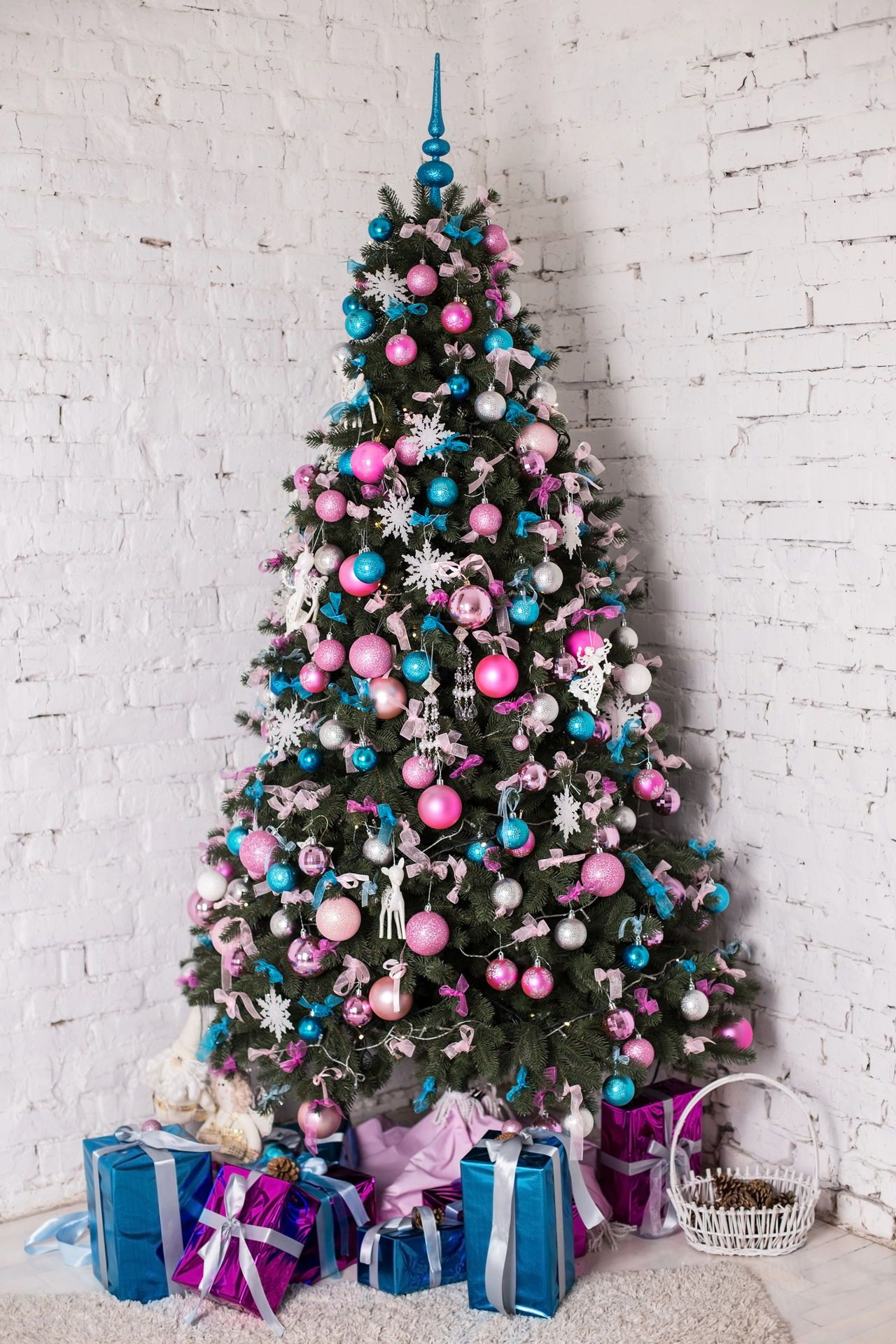 Decorated Christmas Tree White Background Christmas