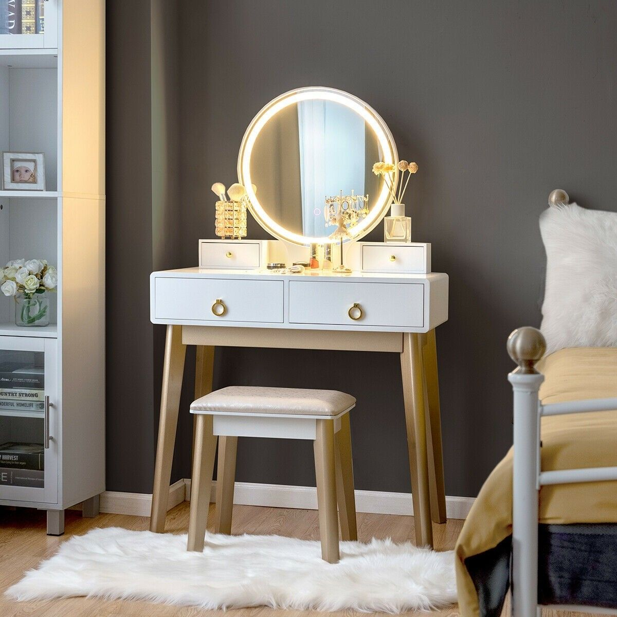 Set 3 Makeup Vanity Table Color Lighting Jewelry Divider Dressing Table 179 95 Free Shipping It S A Modern Dr Bedroom Vanity Set Vanity Table Set Vanity Set