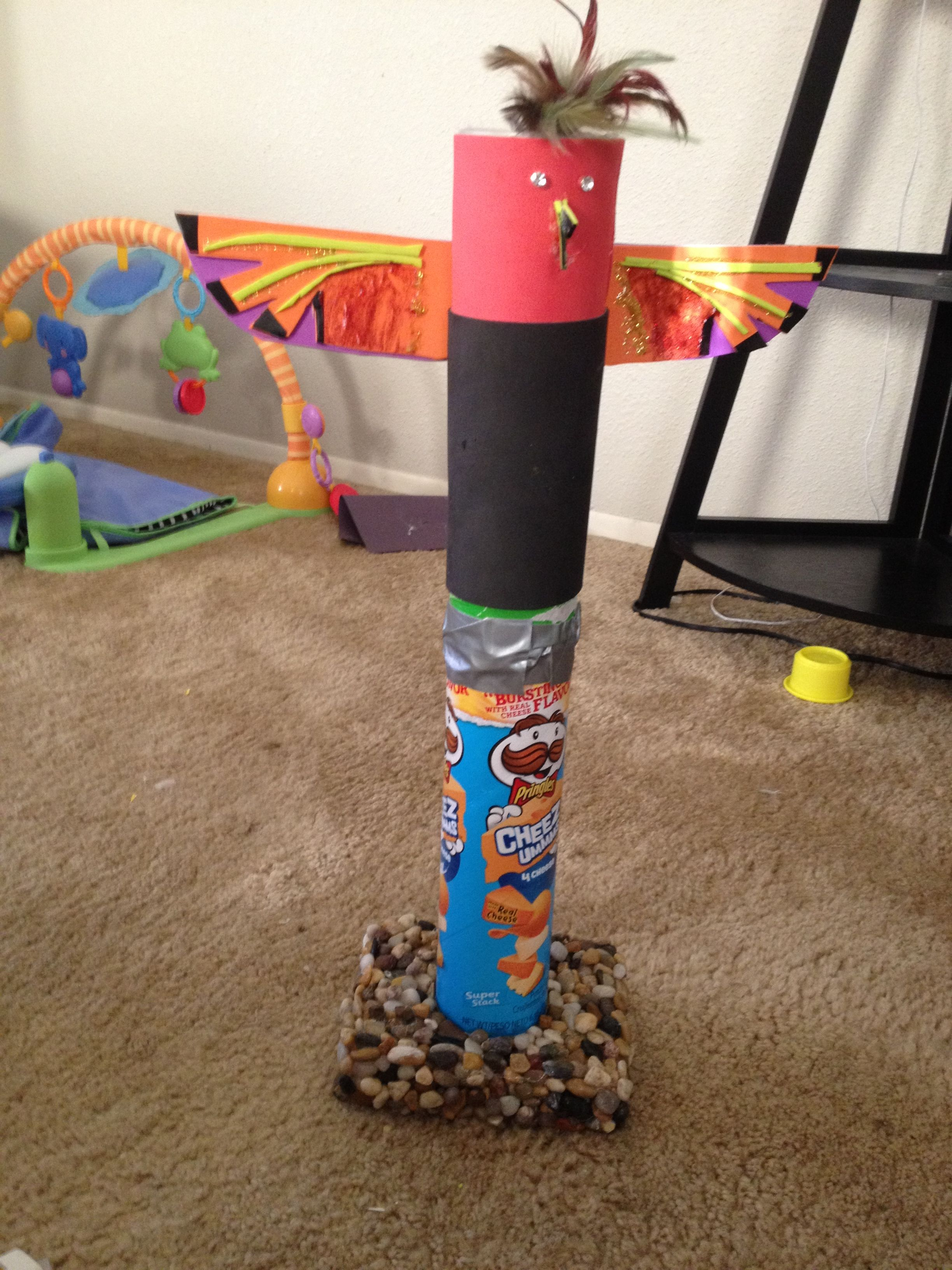 Totem pole project with Pringles can | Totem pole by kids ...